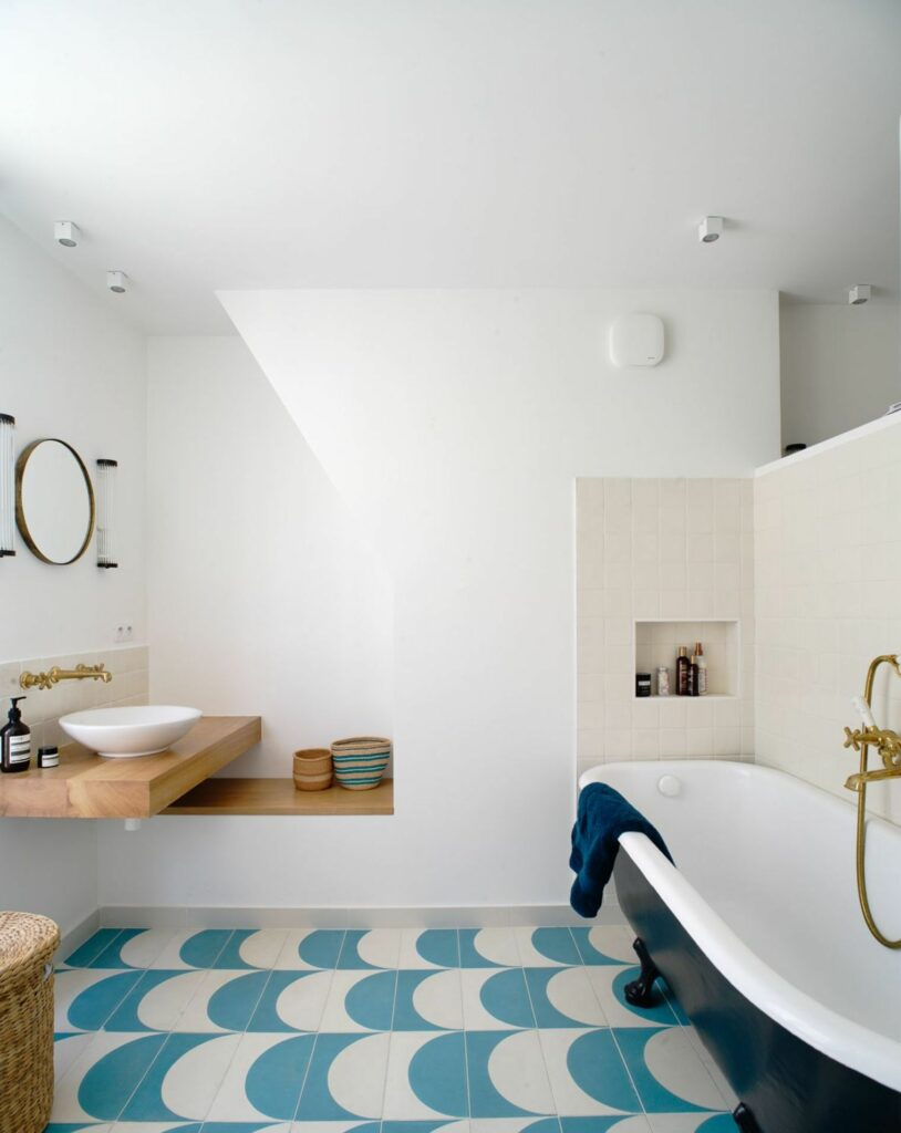 example of beachy stylish bathroom remodel