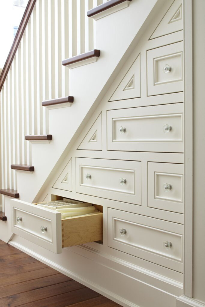 example of under stair storage in tiny home or adu
