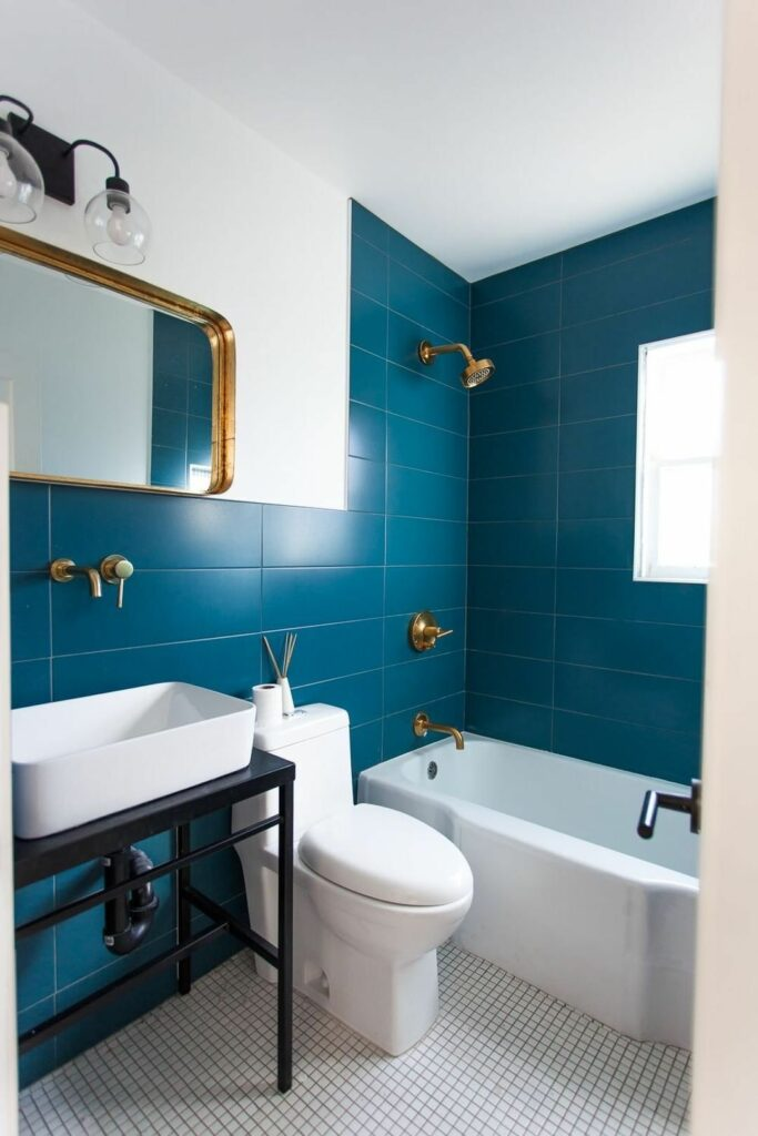 bathroom remodel example with blue tile