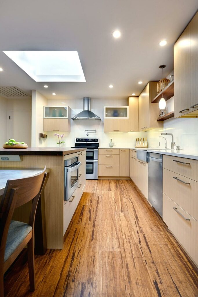 example of bamboo flooring in a kitchen remodel
