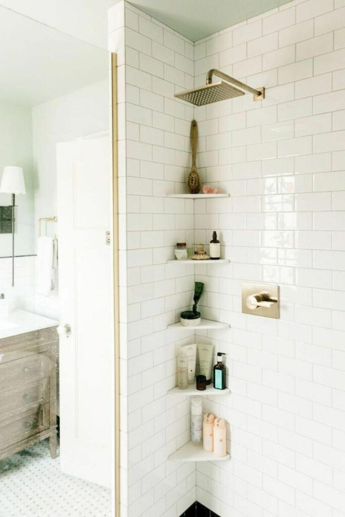 example of shower storage for adu or tiny home