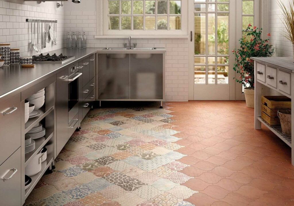 example of ceramic tile flooring in a kitchen remodel