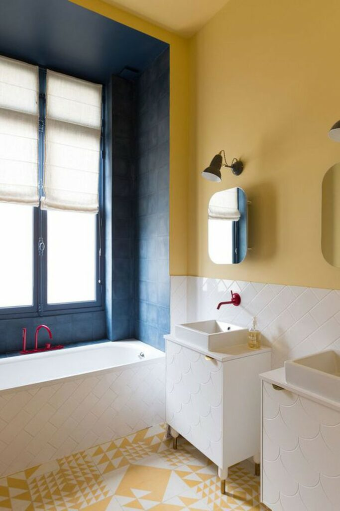 example of bold color bathroom remodel