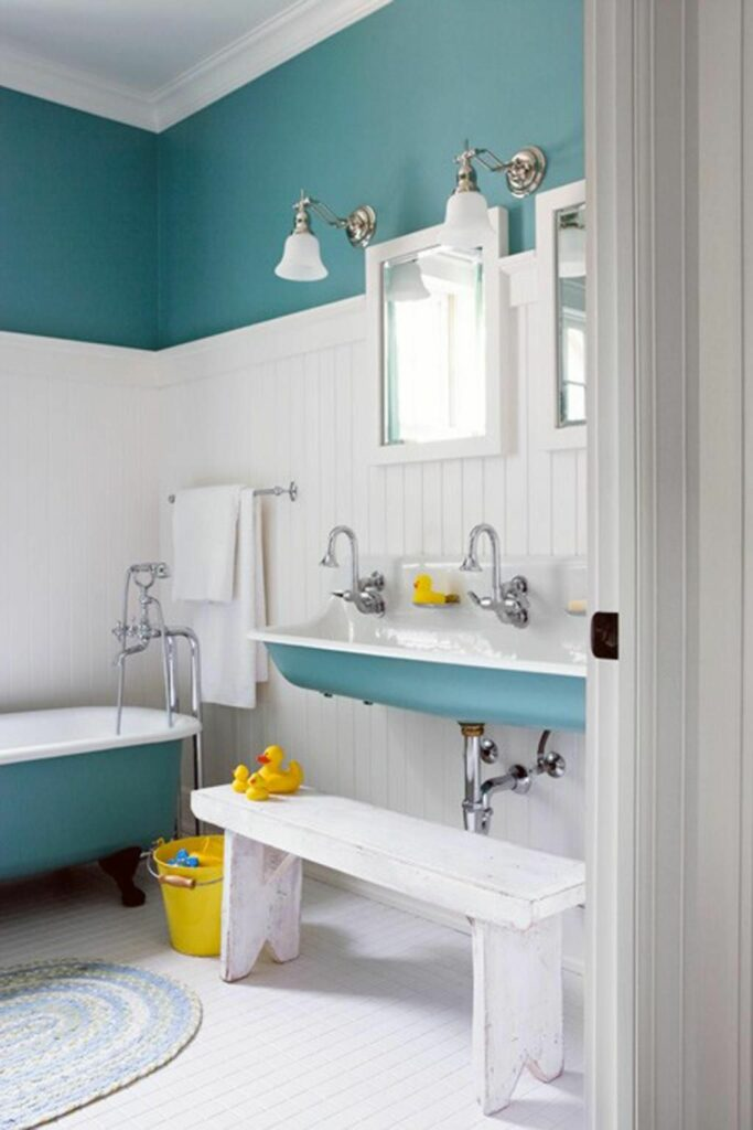 example of colored bathroom remodel