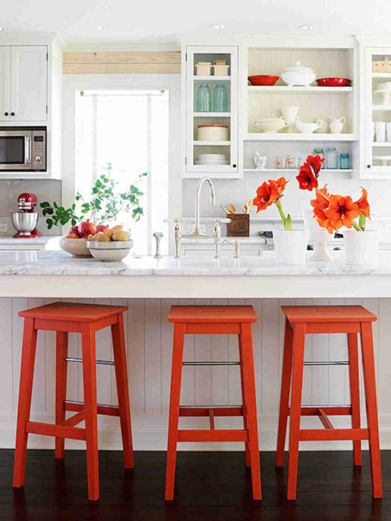 example of colorful accessories in a kitchen remodel