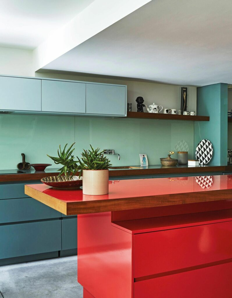 example of colorful cabinets in a kitchen remodel