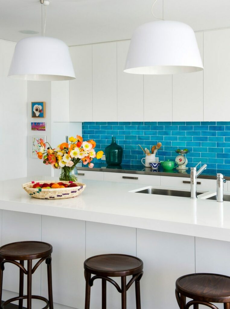 example of colorful backsplash in a kitchen remodel