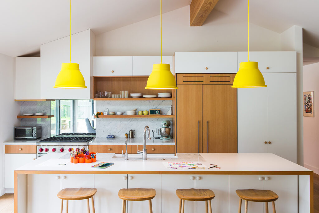 example of colored pendant lights in a kitchen remodel