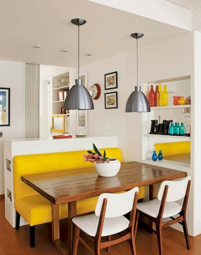 example of bright colored upholstery in a kitchen remodel