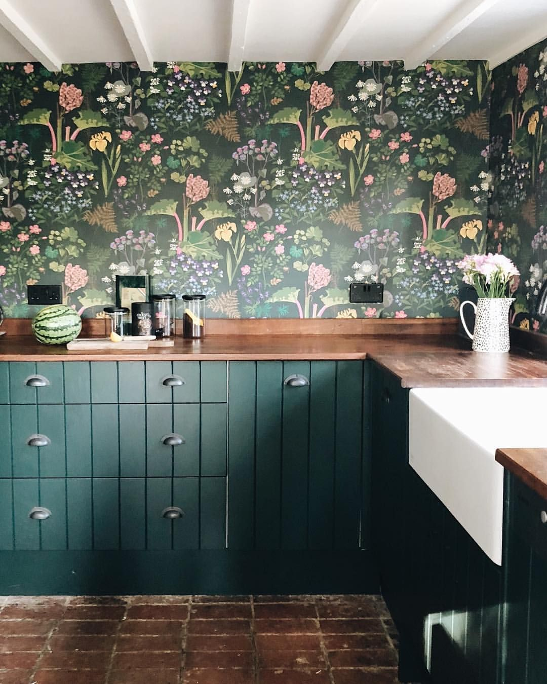 example of wallpaper in a kitchen remodel